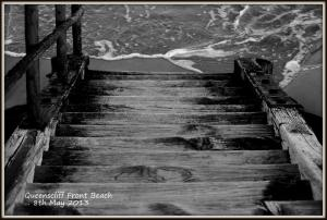 black and white beach step